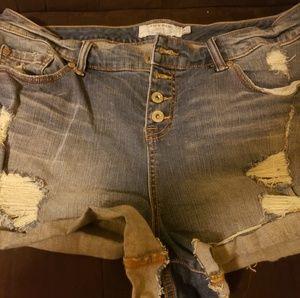 Destructed jean shorts
